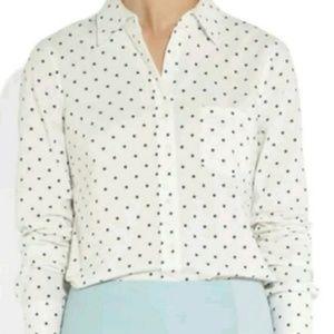 J. Crew Tops - J. Crew Boy Oxford Shirt in Black/White Polka Dot